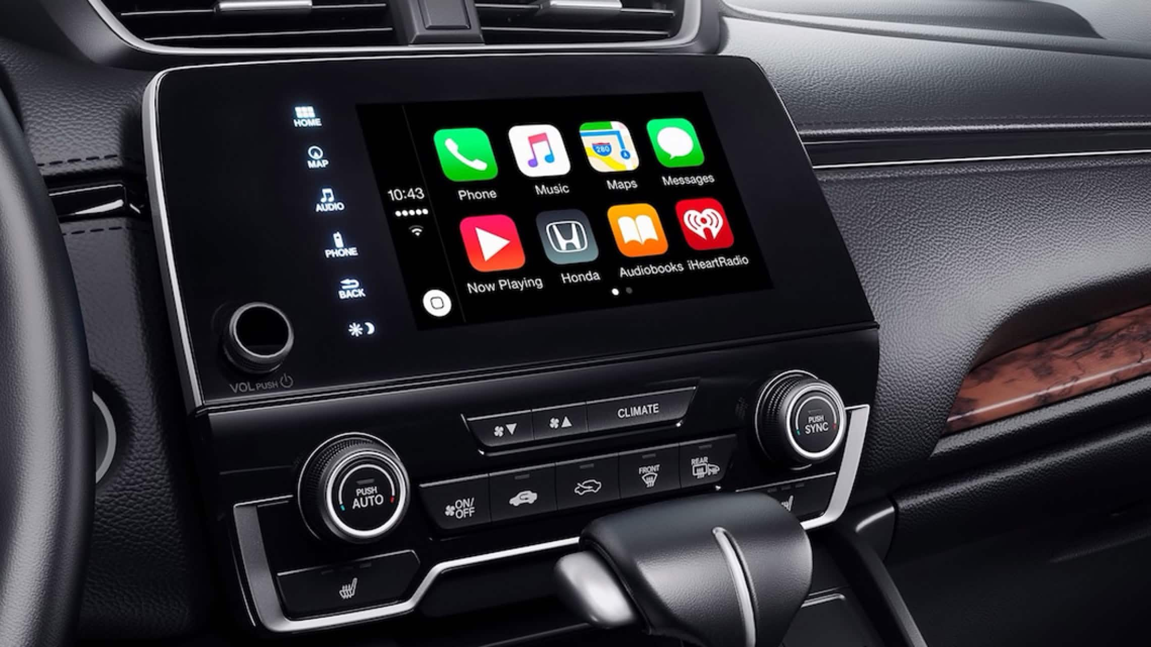 Display Audio touch-screen with Apple CarPlay® integration menu in the 2019 Honda CR-V.
