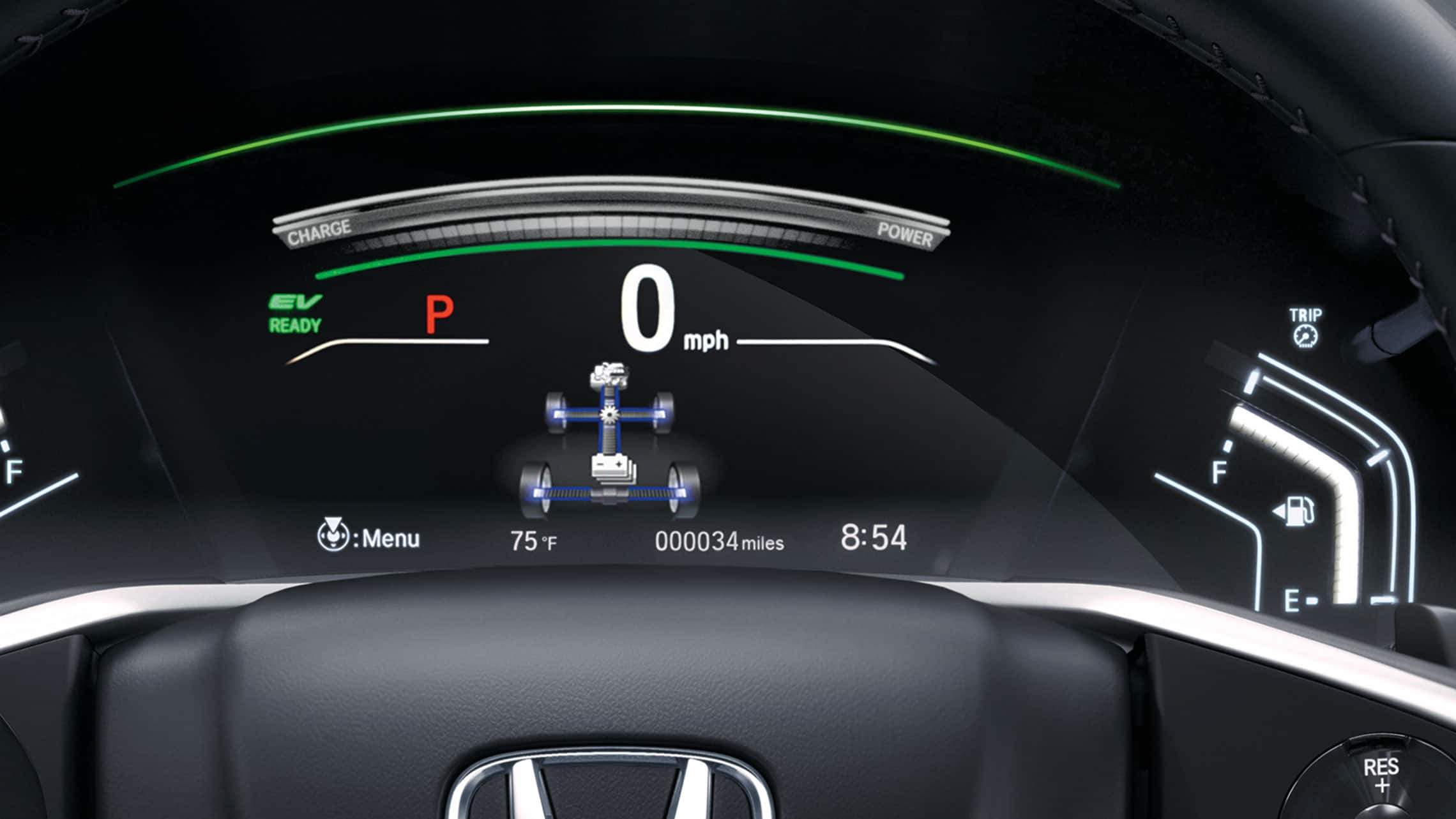 Detail view of the 2020 CR-V Hybrid Driver Information Interface screen with power flow monitor.