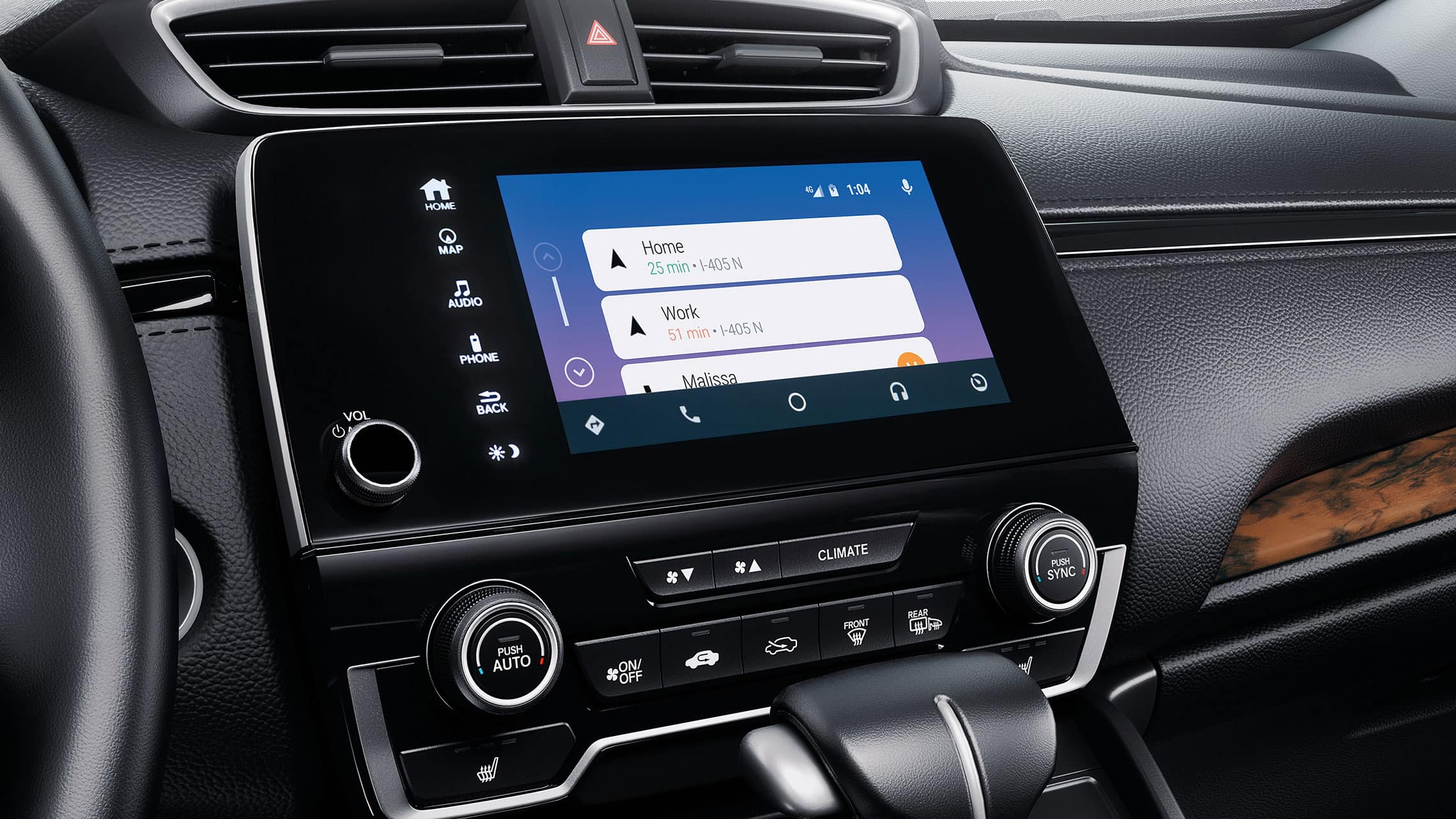 Android Auto™ integration menu detail on the Display Audio touch-screen in the 2020 Honda CR-V.
