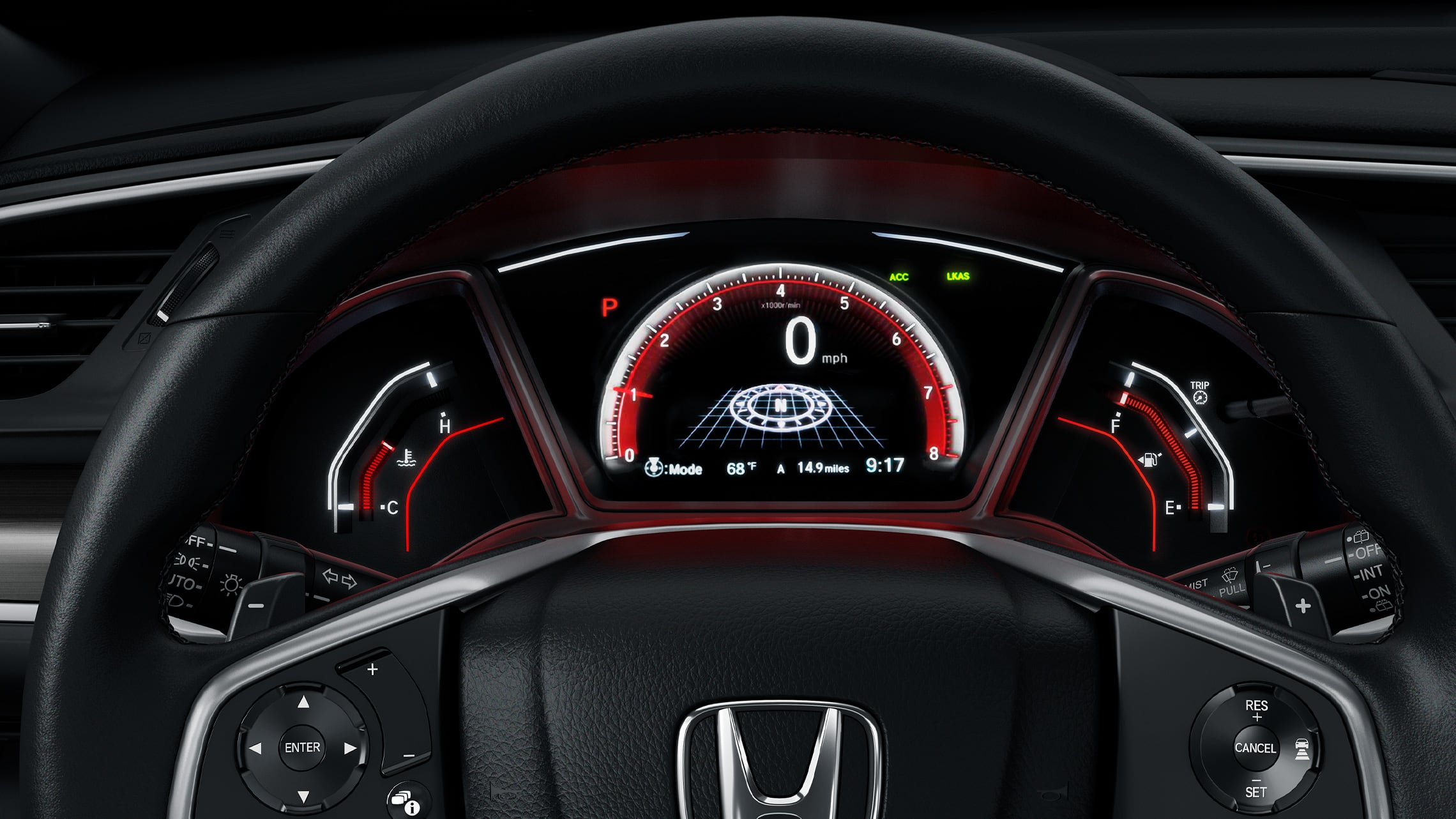 Interior view of steering wheel and dash in 2020 Honda Civic Sport Touring Hatchback in Black Leather.