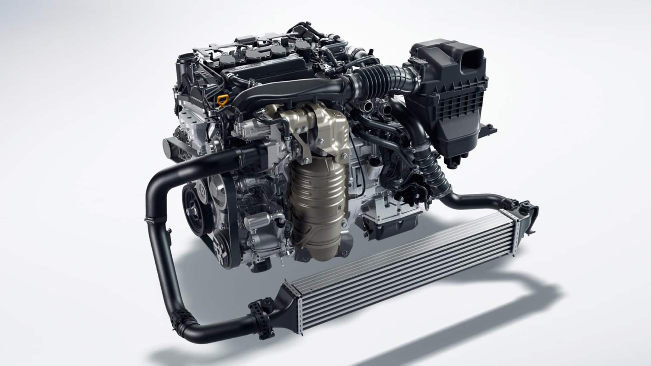 1.5-liter turbocharged engine detail in the 2020 Honda Civic Hatchback.