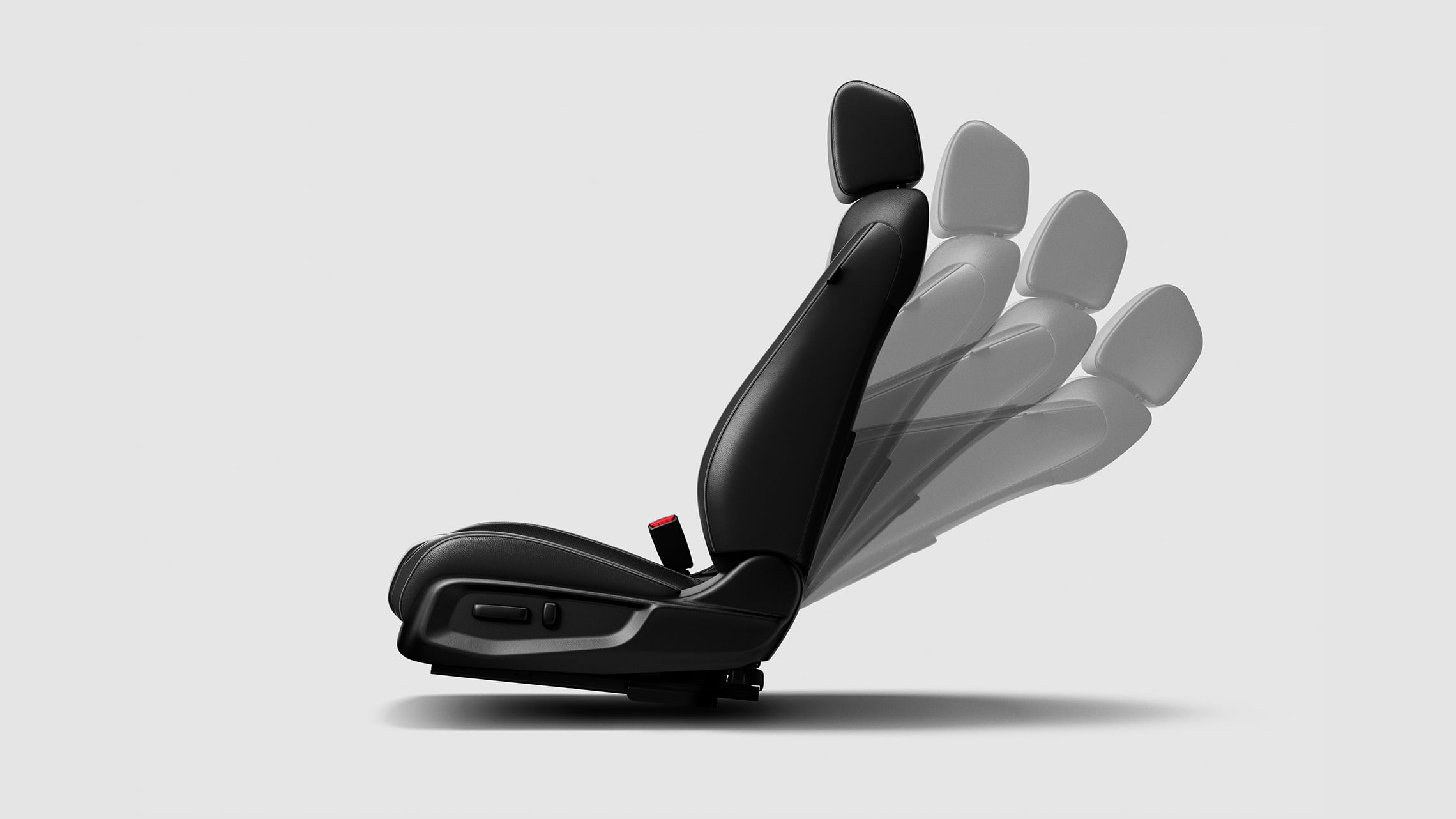 Detail of 8-way power-adjustable driver's seat, in various position settings, for the 2021 Honda Civic Touring Sedan.