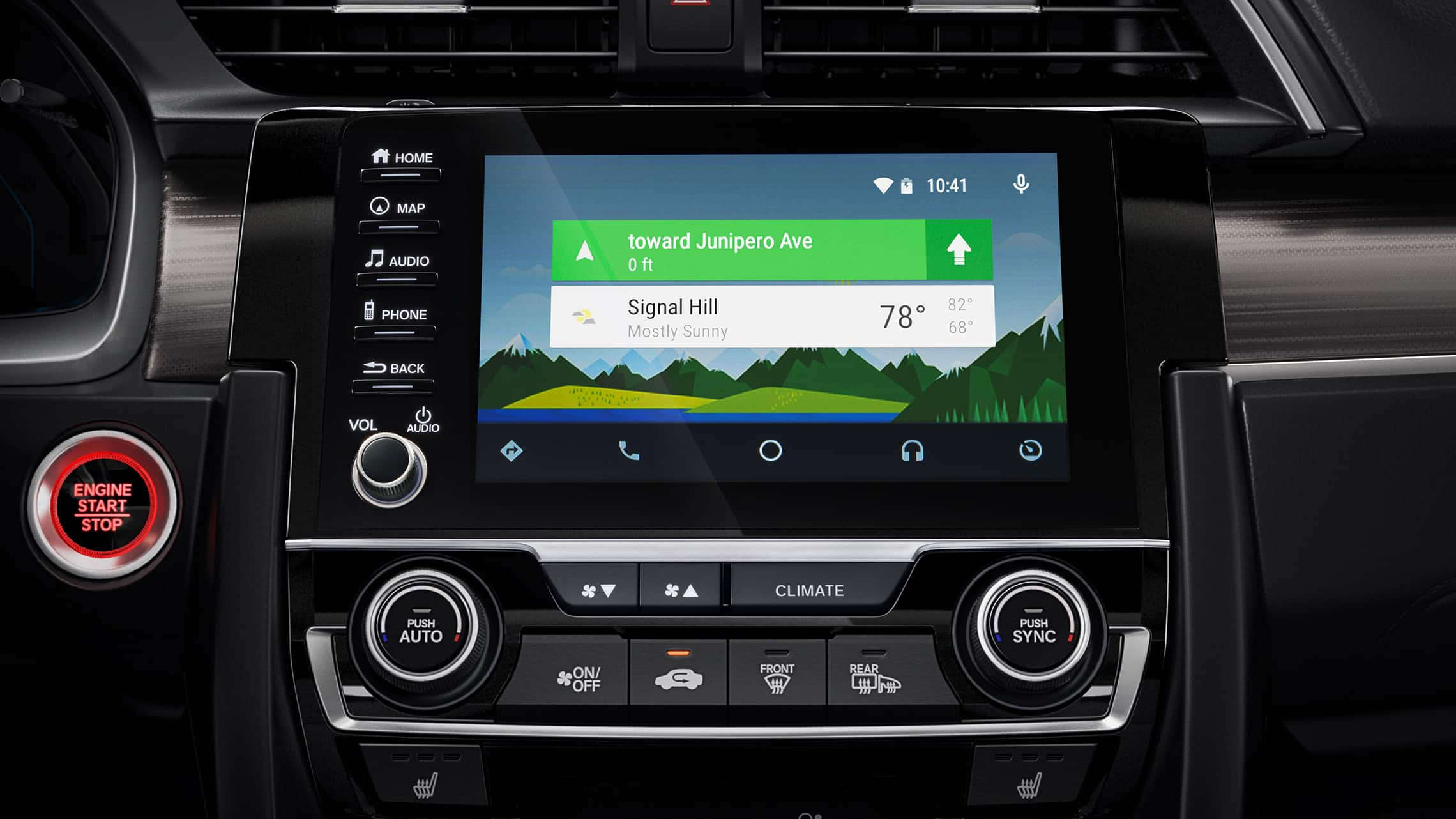 Android Auto™ detail on Display Audio touch-screen in the 2021 Honda Civic Touring Sedan.